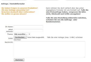 aufkleber24.de Deutschland Kontaktformular
