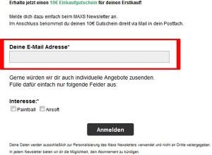 maxs sport paintball.com Deutschland Newsletter